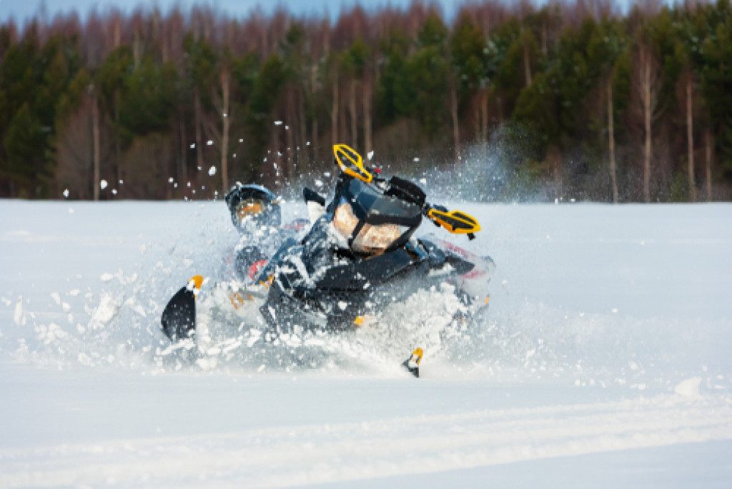 snowmobile rider crash